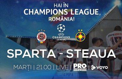 Primul pas al Stelei Bucuresti spre noul sezon UEFA Champions League este meciul contra celor de la Sparta Praga, fiind transmisa LIVE de Pro TV, marti, de la 21:00