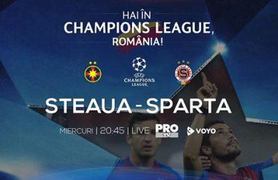 Steaua - Sparta Praga, miercuri, ora 20:45, in direct la ProTV