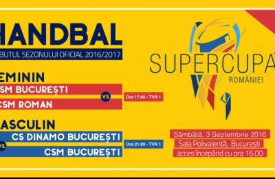 Pe 3 septembrie, de la orele 17.00 şi 21.00, TVR 1, TVR HD şi TVR Moldova transmit în exclusivitate cele două partide de handbal feminin şi masculin