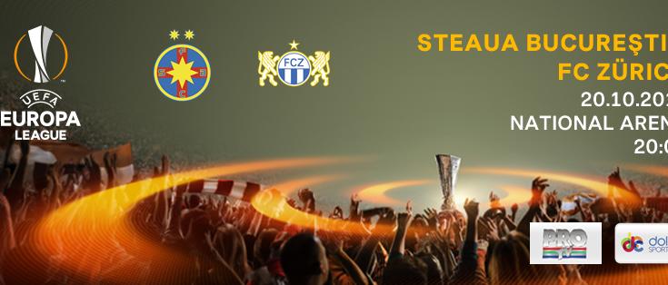 Steaua București evoluează joi, 20 octombrie, de la ora 20.00, împotriva echipei elvețiene FC Zurich, meciul fiind difuzat în direct de ProTV și Dolce Sport 1