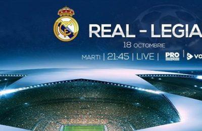 Real Madrid - Legia Varşovia din UEFA Champions League, în direct de Pro TV