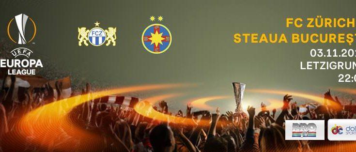 Partida retur dintre FC Zurich şi Steaua, din Europa League, va fi difuzată în direct joi, de la ora 22.00, de Pro TV şi Dolce Sport 1